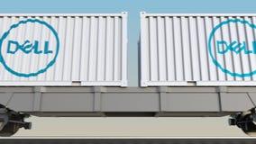 Transporte ferroviario de envases con Dell Inc LOGOTIPO 3D editorial que rinde el clip 4K libre illustration