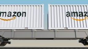Transporte ferroviario de envases con el Amazonas logotipo de COM 3D editorial que rinde el clip 4K almacen de metraje de vídeo
