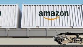 Transporte ferroviario de envases con el Amazonas logotipo de COM Representación editorial 3D ilustración del vector