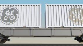 Transporte ferroviario de envases con el logotipo de General Electric 3D editorial que rinde el clip 4K libre illustration
