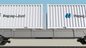 Transporte ferroviario de envases con el logotipo de Hapag Lloyd 3D editorial que rinde el clip 4K libre illustration
