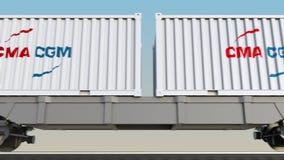 Transporte ferroviario de envases con el logotipo de la CGM de CMA 3D editorial que rinde el clip 4K stock de ilustración