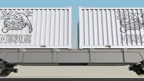 Transporte ferroviario de envases con el logotipo de Nestle 3D editorial que rinde el clip 4K ilustración del vector