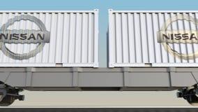 Transporte ferroviario de envases con el logotipo de Nissan 3D editorial que rinde el clip 4K stock de ilustración