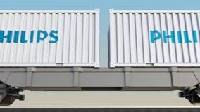 Transporte ferroviario de envases con el logotipo de Philips 3D editorial que rinde el clip 4K ilustración del vector