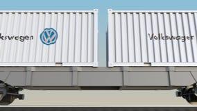 Transporte ferroviario de envases con el logotipo de Volkswagen 3D editorial que rinde el clip 4K stock de ilustración