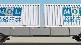 Transporte ferroviario de envases con Mitsui O S K Alinea el logotipo 3D editorial que rinde el clip 4K stock de ilustración