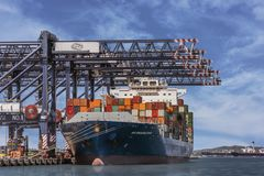 Transporte, importação e exportação do recipiente Foto de Stock Royalty Free