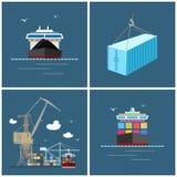 Transporte internacional de la carga, iconos del cargo Fotos de archivo