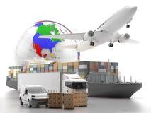 Transporte internacional dos bens com o globo no fundo Imagens de Stock Royalty Free