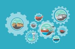 Transporte internacional e serviço movente global ilustração do vetor