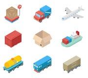 Transporte isométrico da carga e ícones logísticos ilustração do vetor