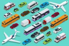 Transporte isométrico de la ciudad con visiones delanteras y traseras Carretilla, avión, sedán, furgoneta, camión del cargo, camp stock de ilustración