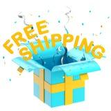Transporte livre da palavra dentro de uma caixa de presente Fotografia de Stock Royalty Free