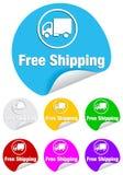Transporte livre, etiquetas redondas Fotografia de Stock Royalty Free