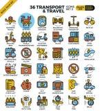 Transporte logístico y iconos del esquema del viaje Imagen de archivo libre de regalías