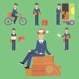 Transporte masculino bonito do pacote do portador da ocupação do correio do vetor do caráter do homem de entrega do carteiro ilustração do vetor