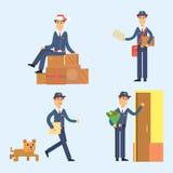 Transporte masculino bonito do pacote do portador da ocupação do correio do vetor do caráter do homem de entrega do carteiro ilustração royalty free