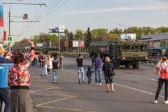 Transporte militar após Victory Parade Fotos de Stock