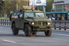 Transporte militar después de Victory Parade Fotografía de archivo