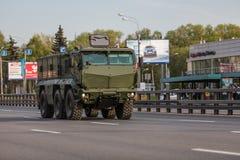 Transporte militar después de Victory Parade Fotografía de archivo libre de regalías