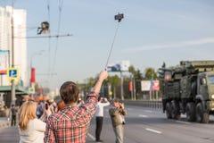 Transporte militar después de Victory Parade Imagen de archivo libre de regalías