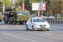 Transporte militar después de Victory Parade Imagen de archivo
