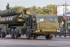 Transporte militar después de Victory Parade Foto de archivo libre de regalías