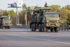 Transporte militar después de Victory Parade Fotos de archivo libres de regalías