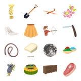 Transporte, mina, espaço e o outro ícone da Web no estilo dos desenhos animados Mobília, esporte, ícones do casamento na coleção  Foto de Stock