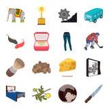 Transporte, mina, espaço e o outro ícone da Web no estilo dos desenhos animados Mobília, esporte, ícones do casamento na coleção  Imagens de Stock
