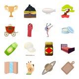 Transporte, mina, espaço e o outro ícone da Web no estilo dos desenhos animados Mobília, esporte, ícones do casamento na coleção  Fotos de Stock Royalty Free