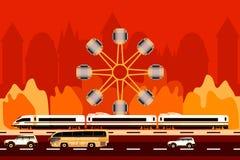 Transporte na cidade e no fundo da roda de ferris imagem de stock royalty free