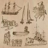 Transporte ningún 9 - Paquete de ejemplos dibujados mano Imagen de archivo