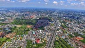 Transporte o marco da parte superior da opinião do ariel do zangão de Tailândia da estrutura da estrada fotografia de stock