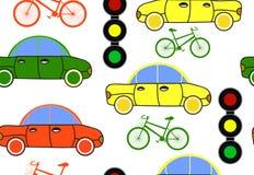 Transporte o teste padrão sem emenda do vetor com carros, sinais e bicicletas Imagens de Stock Royalty Free