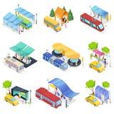 Transporte público da cidade 3D ajustada isométrica ilustração stock