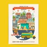 Transporte público de la parada de autobús stock de ilustración