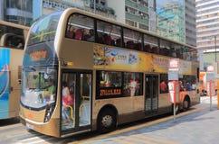 Transporte público Hong Kong do ônibus do ônibus de dois andares Fotografia de Stock