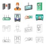 Transporte, público, trem e o outro ícone da Web nos desenhos animados, estilo do esboço Equipamento, atributos, ícones do mecani Imagens de Stock Royalty Free