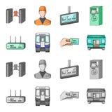 Transporte, público, trem e o outro ícone da Web nos desenhos animados, estilo monocromático Equipamento, atributos, ícones do me Imagens de Stock
