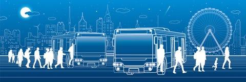 Transporte panorâmico Os passageiros entram e retiram ao ônibus Infraestrutura de transporte da cidade Cidade da noite no fundo,  ilustração do vetor