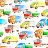 Transporte pesado do teste padrão sem emenda de caminhões e caminhões da aquarela em um fundo branco isolado para a matéria têxti ilustração do vetor