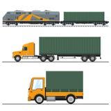Transporte por caminhão do frete de terra e serviços Railway ilustração do vetor