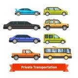 Transporte privado Vários carros e veículos ilustração royalty free