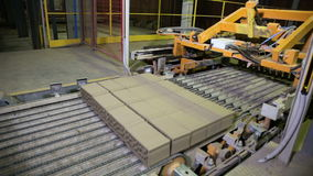 Transporte que trabalha em uma fábrica, bens de montagem do robô industrial, tijolos vídeos de arquivo