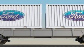 Transporte Railway dos recipientes com logotipo de Ford Motor Company 3D editorial que rende o grampo 4K ilustração do vetor