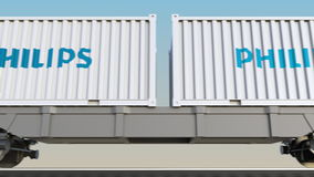 Transporte Railway dos recipientes com logotipo de Philips 3D editorial que rende o grampo 4K ilustração do vetor