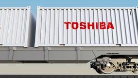 Transporte Railway dos recipientes com logotipo de Toshiba Corporation Rendição 3D editorial ilustração stock