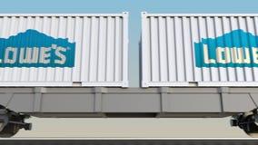 Transporte Railway dos recipientes com logotipo do ` s de Lowe 3D editorial que rende o grampo 4K ilustração stock